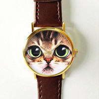 Cat Face Watch, Women Watches, Mens Watch, Leather Watch, Boyfriend Watch, Pet Lover, Cat Fashion, Cat Jewelry, Gold Silver Watch, Rose Gold