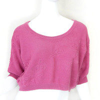 Vintage 80s 90s Rose Pink Esprit Crop Top - Baggy Cropped Women's Spring Sweater - Small Medium