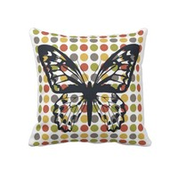 Polka Dot Butterfly Pillows from Zazzle.com