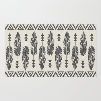 Tribal Feathers-Black & Cream Area & Throw Rug by Bohemian Gypsy Jane | Society6