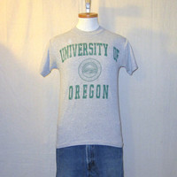 Vintage 80s UNIVERSITY Of OREGON DUCKS Graphic College Sports Athletic Nike Era Soft Unisex Small Grey Cotton T-Shirt
