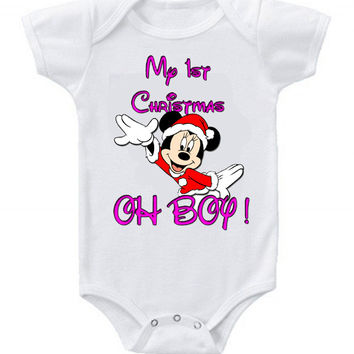 Cute Funny Disney Minnie Mouse Baby Bodysuits One Piece 1st Christmas