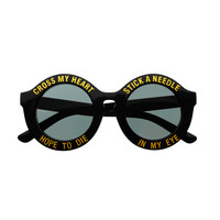 Fashion Keyhole Cross My Heart Round Sunglasses Black R1460
