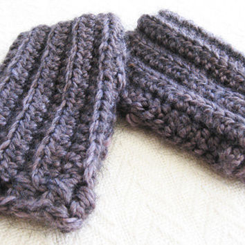 Crochet Fingerless Gloves Crossed Cuffs Dusky Purple Alpaca Blend