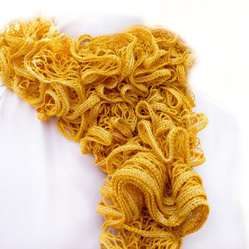 Mustard yellow scarf. Hand knitted ruffle scarf. Fall fashion rustic accessories. Back to school