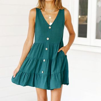 Summer Newest Fashionable Women Pure Color Sleeveless Sling Cake Dress Dark Green