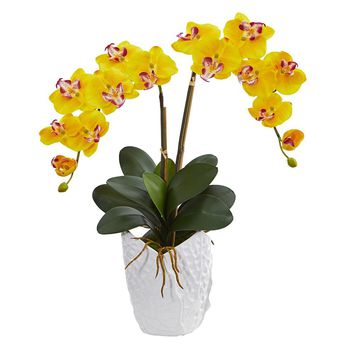 Double Phalaenopsis Orchid Artificial Arrangement in White Vase Silk Arrangements