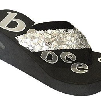 Womens FLIP FLOPS Summer Flats Thong Studded Bling Platform Sandals Shoes 5-10