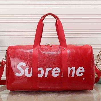 DCCK LV Louis Vuitton x Supreme Women Leather Luggage Travel Bags Tote Handbag