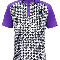 Houndstooth ProCool Men's Golf Shirt (Purple)