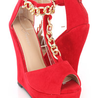 Red Peep Toe T-Strap Wedges Faux Suede