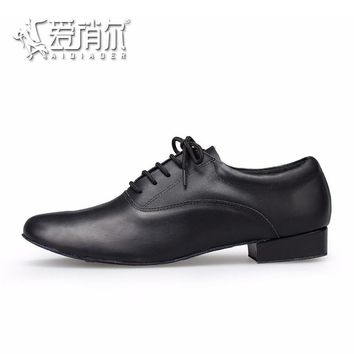 AIQIAOER Dance Shoes For Men 2.5cm Low Heel Jazz Shoes Male Sneakers Genuine Leather S