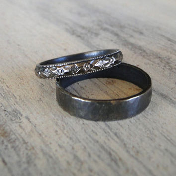 Diamond Pattern Sterling Silver Ring - Oxidized Patterned Sterling Silver Band - Made in your size
