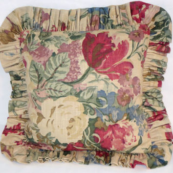 "Ruffled Cottage Floral Pillow 16"" Square Tan Blue Red Green Brown Purple Linen Blend  Vintage Look Cover and Insert Ready to Ship"