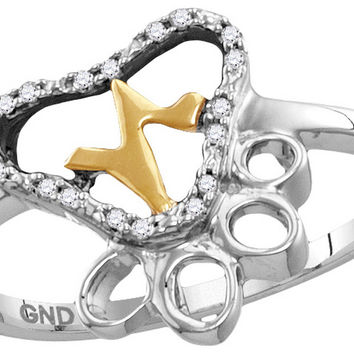 Sterling Silver Womens Round Diamond Paw Print Yellow-tone Heartbeat Cluster Ring 1/20 Cttw 115118