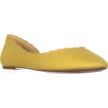 Nine West Mai Scalloped D'Orsay Ballet Flats, Yellow, 9 US