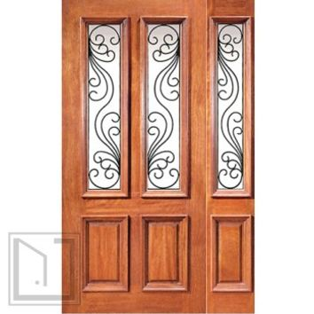 Mahogany Insulated Twin Lite Entry One Door with Sidelite Ironwork