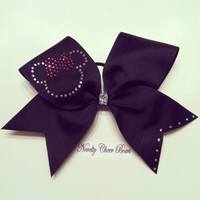 Rhinestone on Black Cheer Bow with Silver Glitter Center