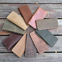 simple handmade genuine leather long wallet vintage card hold purse cool gift 39