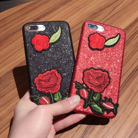 Iphone 6/6s iPhone7/7plus Embroidery Apple Soft Phone Case [11686938383]