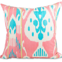 Pink & Blue Ikat Pillow