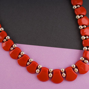 1980s Silver Tone Small Bead Red Flat Bead Necklace