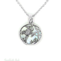 Sterling Silver Mother of Pearl Turtle Reef Pendant Necklace