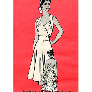 50s SEXY HALTER DRESS Pattern Bombshell Summer Dress Rockabilly Cocktail Evening Gown Anne Adams 9458 Bust 32.5 Womens Sewing Patterns UNCuT