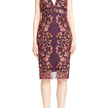 Lela Rose Embroidered Tulle V-Neck Sheath Dress | Nordstrom