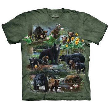 The Mountain BEAR COLLAGE T-Shirt Wildlife Scene Black Grizzly Animal S-5XL NEW!