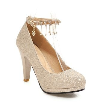 Women's Round Head Rhinestone High Heel Chunky Pumps