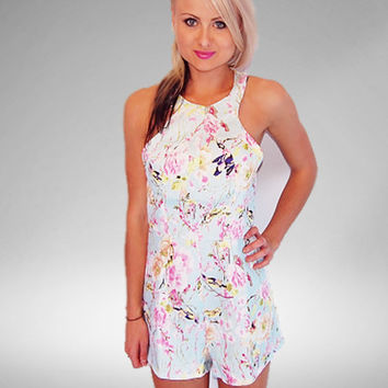 Oriental Tea Party Pastel Print Playsuit