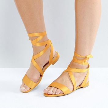New Look Wide Fit Satin Ankle Tie Flat Sandal at asos.com