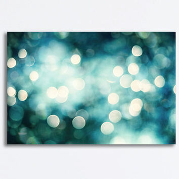 "Abstract Canvas - bokeh lights teal blue turquoise aqua sparkle photography gallery wrapped canvas sparkly wall prints, ""This Magical Night"""