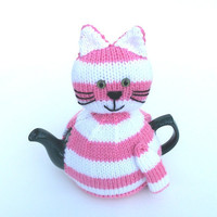 Cat Kitty tea cosy to fit a medium pot. pink and white striped