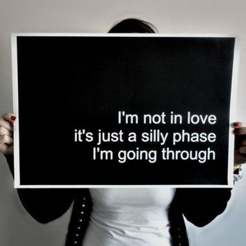 Poster Typography Print Not in Love - 11 x 14 inches Black Lyrics Poster