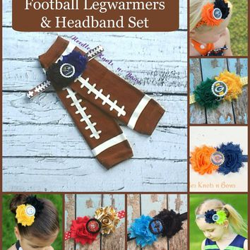Girls Football Accessory Set, Football Legwarmers and Team Headband Set,  Baby, Infant, Toddler Legwarmers, Girls Leg Warmers, Football