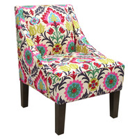 Quinn Swoop-Arm Cotton Chair, Pink/Multi, Accent & Occasional Chairs
