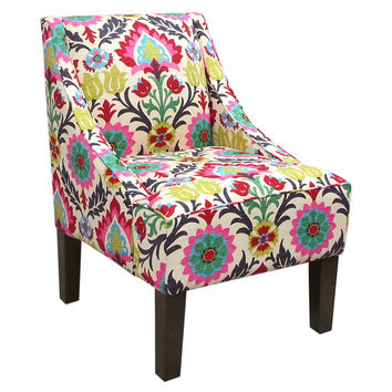 Fletcher Swoop-Arm Chair, Pink Floral, Accent & Occasional Chairs