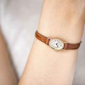 Gold plated lady watch petite, tiny women's watch Seagull, oval lady cocktail watch, mechanical wristwatch gift, genuine leather strap new