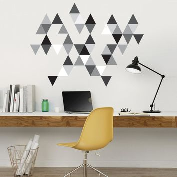 45 Mod Triangle Wall Decals in Gray, Black and White, Eco-Friendly Repositionable Decals