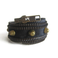 Ready to ship zipper cuff with bronze spikes