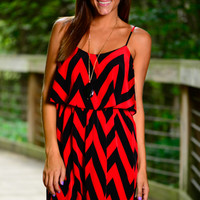 Ziggin'n'Zaggin' Dress, Red/Black