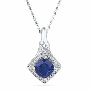 10kt White Gold Women's Round Lab-Created Blue Sapphire Solitaire Pendant 1-5-8 Cttw - FREE Shipping (US/CAN)
