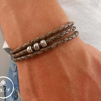 Men's Bracelet - Men's Beaded Bracelet - Men's Leather Bracelet - Men's Jewelry - Men's Gift - Boyfriend Gift - Husband Gift - Gift For Him