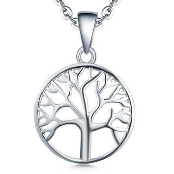 CREYV2S Tree of life Pendant Necklace-YL 925 Sterling Silver Tree Necklace Jewelry-Womens Girls Christmas Tree Charm Necklace-Mothers Day Family Tree of Life Necklace-White Gold Giving Money Mens Boys Gifts