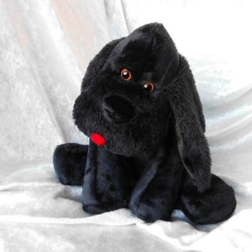Stuffed animal Dog stuffed BLACK POODLE plush soft toy American Cocker SPANIEL plush black Field Spaniel floppy puppy handmade black spaniel