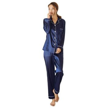 Lady Silk Satin Pajama Sets Long Sleeve Sleepwear Homewear Nightwear Robe
