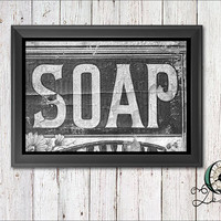 Single Image digital download Wash Room Bathroom Wall Art Decor Vintage Rustic Soap and Towel Print Graphic Art Home Decor