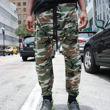 Cotton Camo Drop Crotch Pants For Men and Women // Handmade